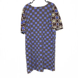 Gibson Latimer Purple Geometric Print Shift Dress